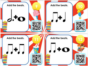 Carnival Beats - Notes and Rests QR Code Task Cards