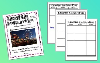 Carnival Calculations - Algebraic Equations in Tables, Graphs, & Scenarios
