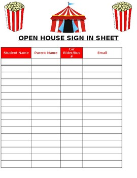 Carnival/Circus Open House Sign-in sheet