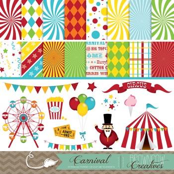 Carnival Clip Art, Backgrounds, & Banner BUNDLE!