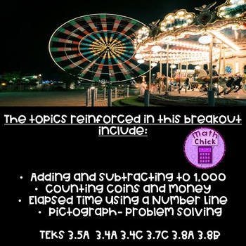 Carnival Conundrum Digital Breakout Add Subtract Time Money Pictograph Escape