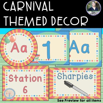 Carnival/Fair Themed Classroom Décor - blue, red, yellow, balloons