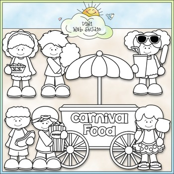 Carnival Food - CU Clip Art & B&W Set