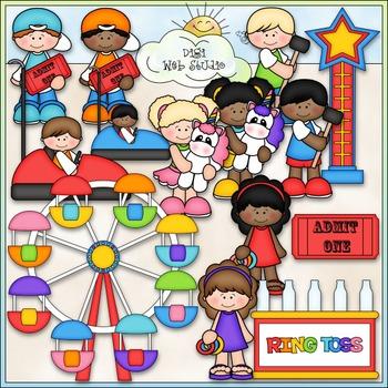 Carnival Fun Clip Art - Kids At The Carnival Clip Art - CU Clip Art & B&W