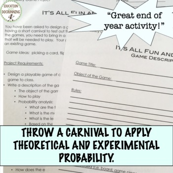 Carnival Game Project for Theoretical Experimental and Geometric Probability