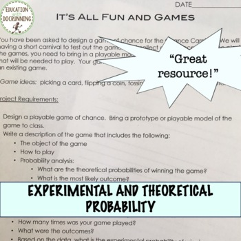 Theoretical Experimental Geometric Probability Carnival Game Project EDITABLE