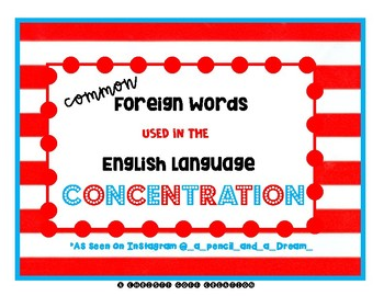 Carnival Games: Foreign Words in English Language Concentration