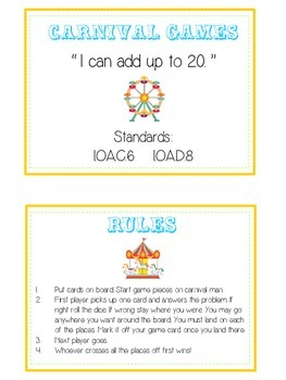Carnival Games Math Folder Game - Common Core - Adding 10 to 20