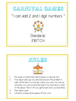 Carnival Games Math Folder Game - Common Core - Adding 2 and 1 Digit Numbers