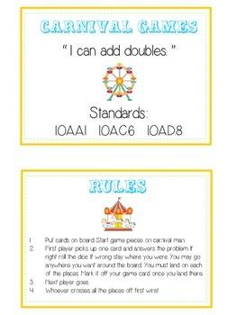 Carnival Games Math Folder Game - Common Core - Adding Doubles