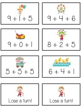 Carnival Games Math Folder Game - Common Core - Adding Three 3 Numbers
