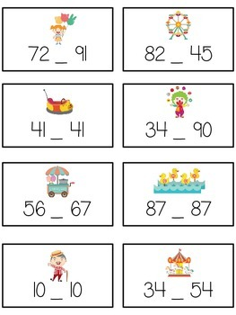 Carnival Games Math Folder Game - Common Core - Comparing 2 Digit Numbers