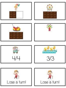 Carnival Games Math Folder Game - Common Core - Fractions
