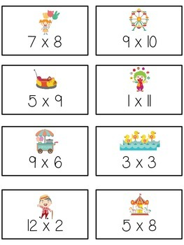 Carnival Games Math Folder Game - Common Core - Multiplication