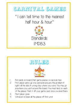 Carnival Games Math Folder Game - Common Core - Telling Time Half Hour Hour
