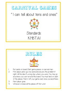 Carnival Games Math Folder Game - Common Core - Tens and Ones - Place Value