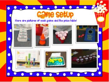 Carnival Games Room Transformation Basic Math Review: 4th Grade EDITABLE!
