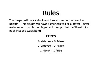 Carnival Games Signs and Rules