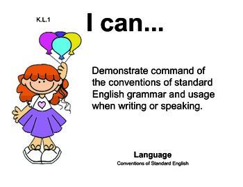 Carnival Kindergarten English Common core standards posters
