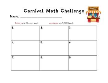 Carnival Math Challenge