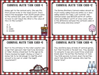 Carnival Math Review Task Cards (Grade 4)