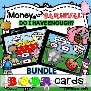 Money at the Carnival (Do I Have Enough Money?) - Boom Cards for Math