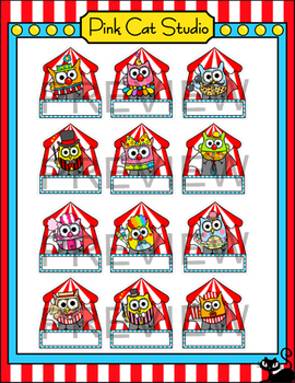 Owls Carnival Theme Name Tags and Labels - Circus Theme