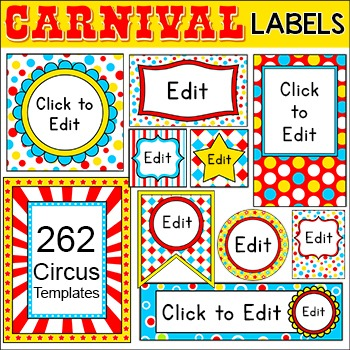 Carnival Circus Labels & Templates for Classroom Jobs, Binders, Supplies etc