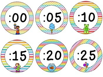 Carnival Theme Clock Tags & Labels