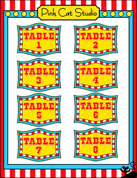 Carnival Theme Table Signs - Circus Theme