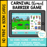 Carnival Themed Barrier Game BOOM Cards™️ Speech Therapy D