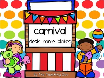 Carnival Themed Desk Name Plates