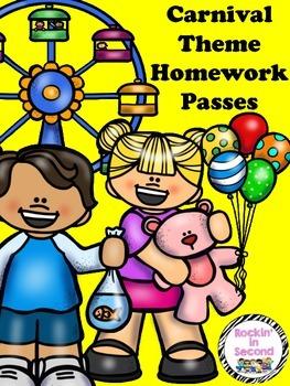 Carnival Themed Homework Passes
