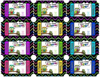 Carnival Tickets for Behavior Management ~Owl Theme~