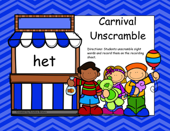 Carnival Word Unscramble