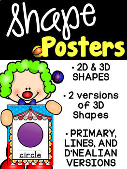 Carnival and Circus Shape Posters - 2d and 3d Shapes