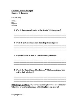 Carnival at Candlelight Comprehension Questions and Vocabulary Ch. 4-9