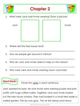 Carnival at Candlelight Magic Tree House #33 Comprehension Novel Study