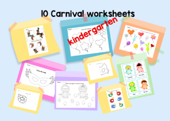 Carnival fun! 10 worksheets for kindergarten