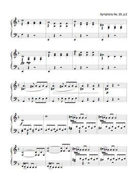 Symphony No. 25 (Mozart) | Sheet Music for Piano Solo (Digital Print)