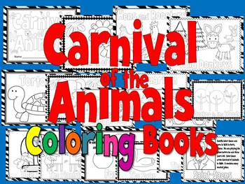 carnival of the animals coloring book or coloring sheets 3 sizes