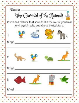 Carnival Of The Animals Listening Worksheets & Teaching Resources   TpT