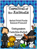 Carnival of the Animals Quick Print Fun Fact Pennants - Visuals Elem. Music Room