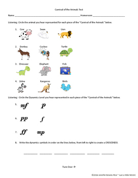 Carnival of the Animals Test (with ADAPTED version for SpEd/IEP students)