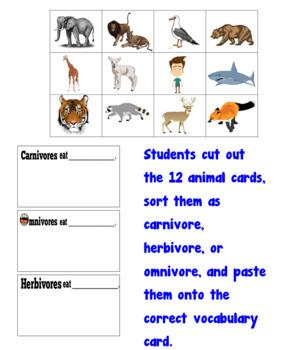 Carnivore, Herbivore, Omnivore Cut & Paste Vocabulary Cards