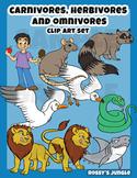 Carnivore Herbivore and Omnivore animals clip art set