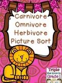 Carnivore, Omnivore, Herbivore Animal Picture Sort