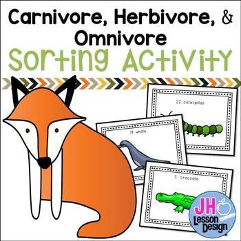 Carnivore Omnivore Herbivore - Types of Consumers - Task Cards