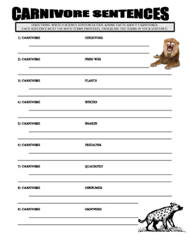 Carnivore and Herbivores (2 Vocabulary and Writing Sheets)