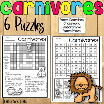 Carnivores Animal Puzzles Word Search Crossword